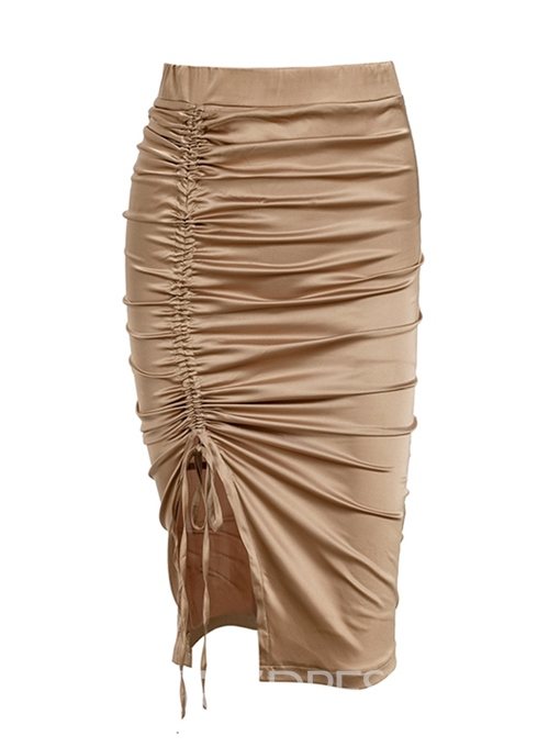 Ericdress Bodycon Pleated Lace-Up Women's Skirt