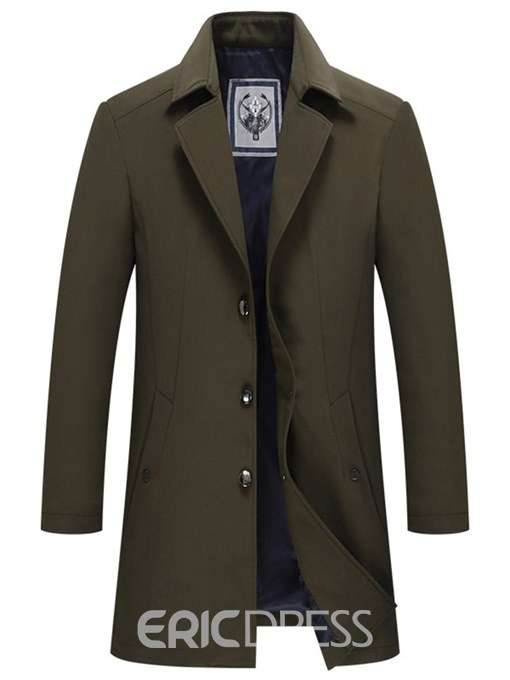 Ericdress Plain Slim Pocket Button Mens Casual Trench Coats