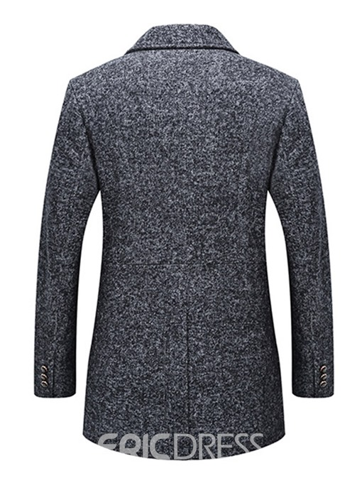 Ericdress Plain Slim Mid-length Thick Mens Wool Coats