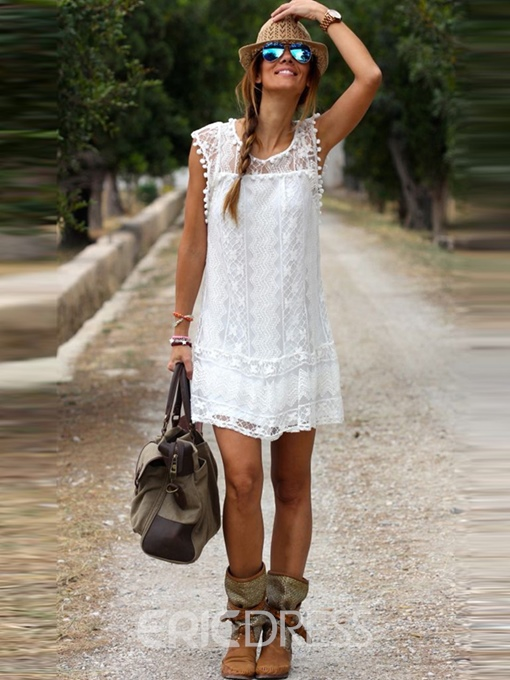 Ericdress Lace Round Neck Sleeveless Plain White Dress