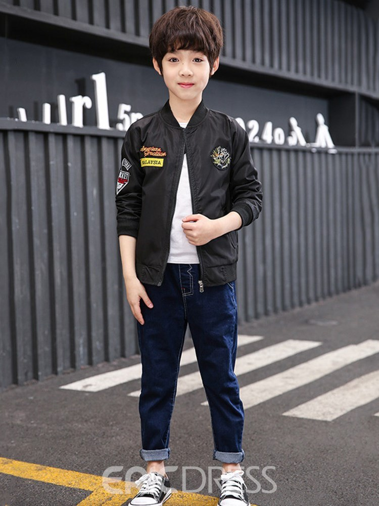 Ericdress Patchwork Printed Stand Collar Zipper Boy's Casual Jacket