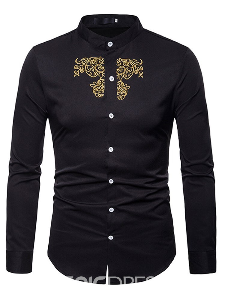 Ericdress Golden Floral Embroidery Stand Collar Mens Slim Shirts