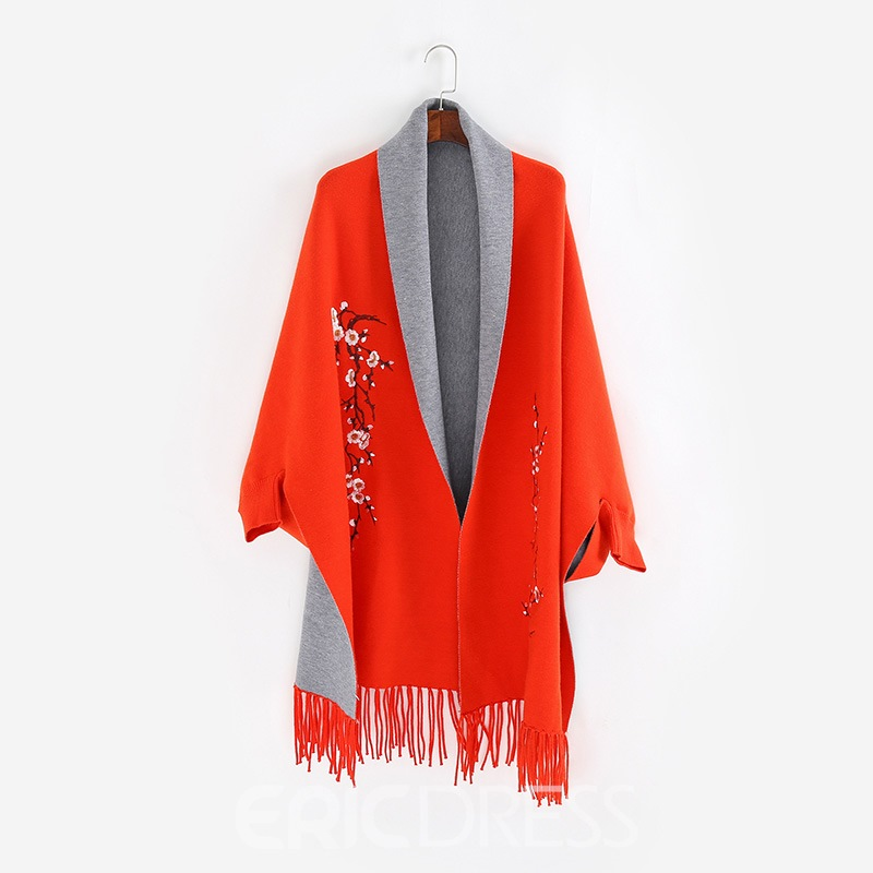 Ericdress Double Side Warm Embroidery Scarf