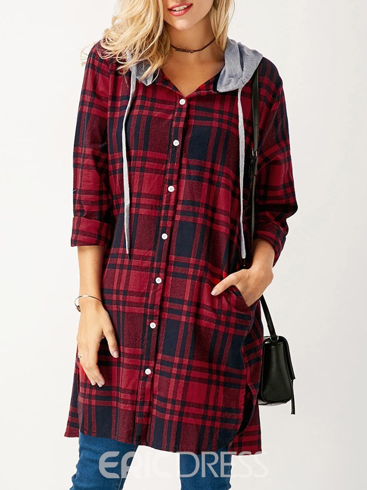 Ericdress Loose Plaid Patchwork Casual Cool Hoodie