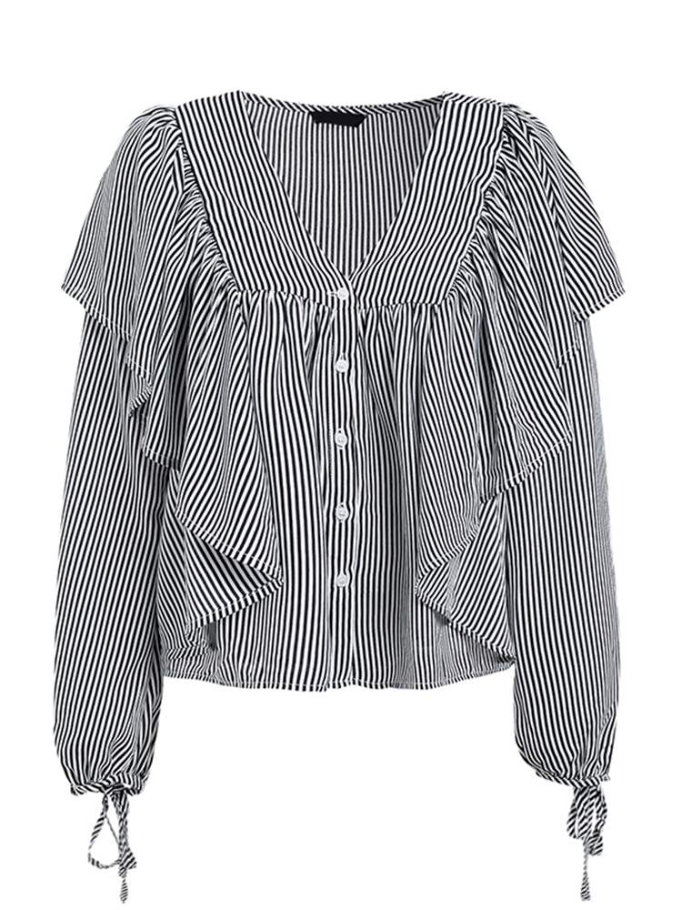 Ericdress Stripe Casual Ruffles Long Sleeve Blouse