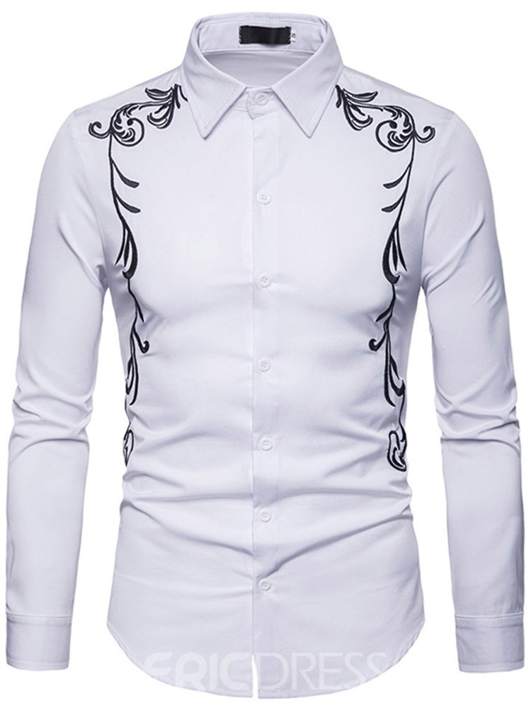 Ericdress Embroidery Printed Slim Button Up Mens Casual Shirts