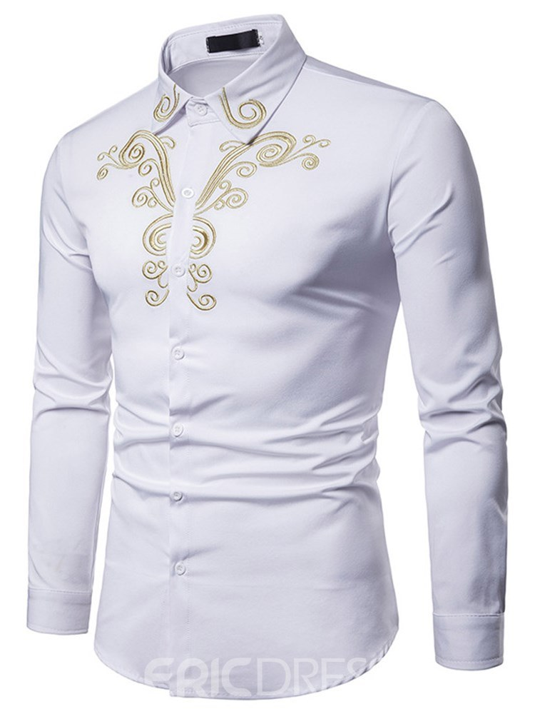 Ericdress Floral Embroidery Lapel Button Up Mens Casual Slim Shirts