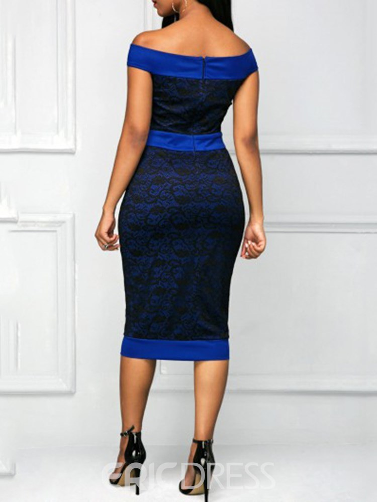 Ericdress Bodycon Off the Shoulder Office Lady Women's Dress