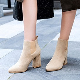 Ericdress Elastic Square Toe Chunky Heel Women's Ankle Boots
