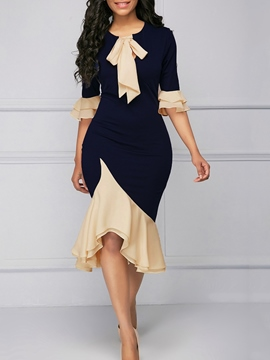 Ericdress Mermaid Asymmetric Ruffles Bowknot Women's Dress