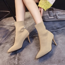 Ericdress Plain Pointed Toe Stiletto Heel Women's Ankle Boots
