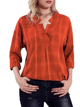 Ericdress Loose Mid-Length Casual Plaid V-Neck Long Sleeve Blouse