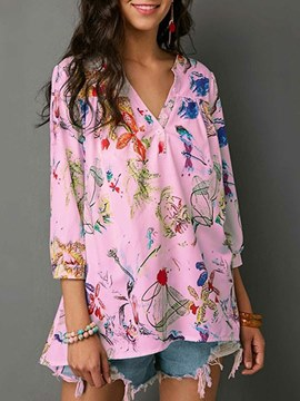 Ericdress Loose Mid-Length Print Floral Long Sleeve Blouse
