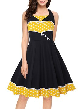 Ericdress Sleeveless Polka Dots Women's Dress