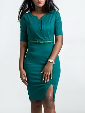 Ericdress Bodycon Plain Office Lady Women's Dress