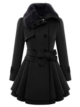 Ericdress Double-Breasted Plain Mid-Length Belt Coat