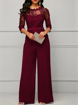 Ericdress Peplum Waist Lace Panel Women's Jumpsuits
