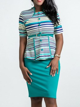 Ericdress Striped Button T-Shirt and Skirt Women Formal Suit