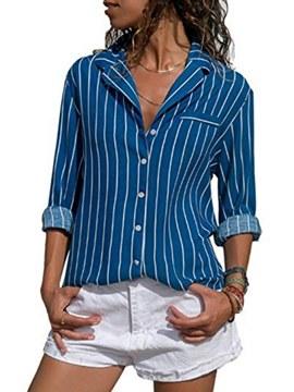Ericdress Blue Stripe Mid-Length Long Sleeve Blouse