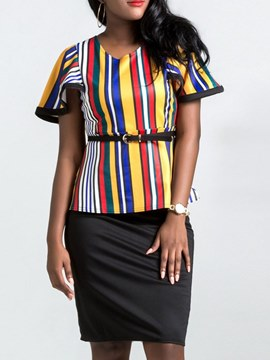 Ericdress Striped T-Shirt and Skirt Color Block Women's Two Piece Set