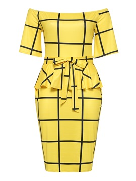Ericdress Yellow Belt Plaid Elegant Bodycon Women's Dress