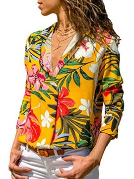 Ericdress Casual Plant Print Single-Breasted Blouse