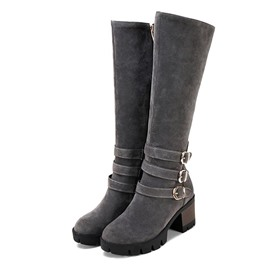 Ericdress Side Zipper Round Toe Women's Knee High Boots