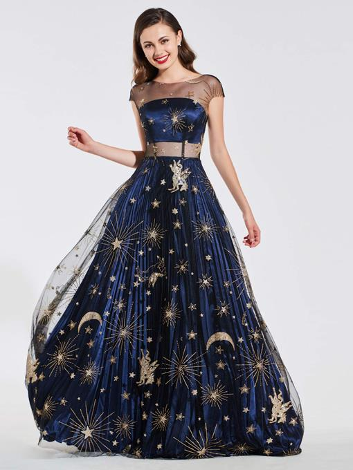Ericdress Cap Sleeves Starry Pattern Prom Dress 2019
