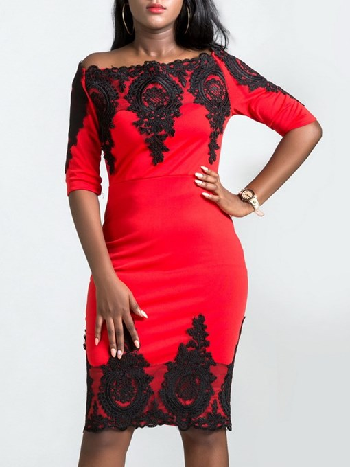 Ericdress Bodycon Off the Shoulder Lace Women's Dress