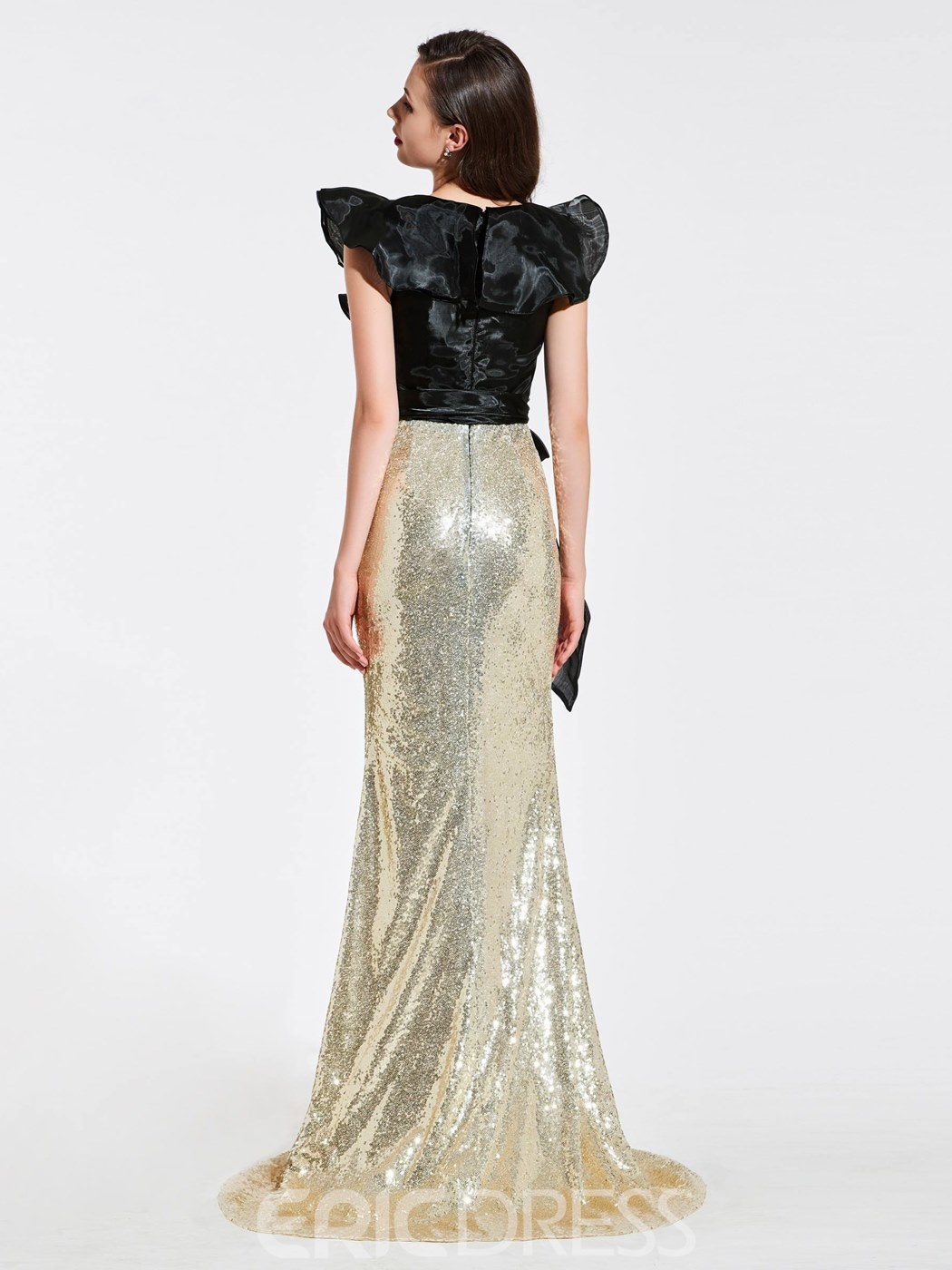 Ericdress Cap Sleeve Sequin Color Block Mermaid Evening Dress