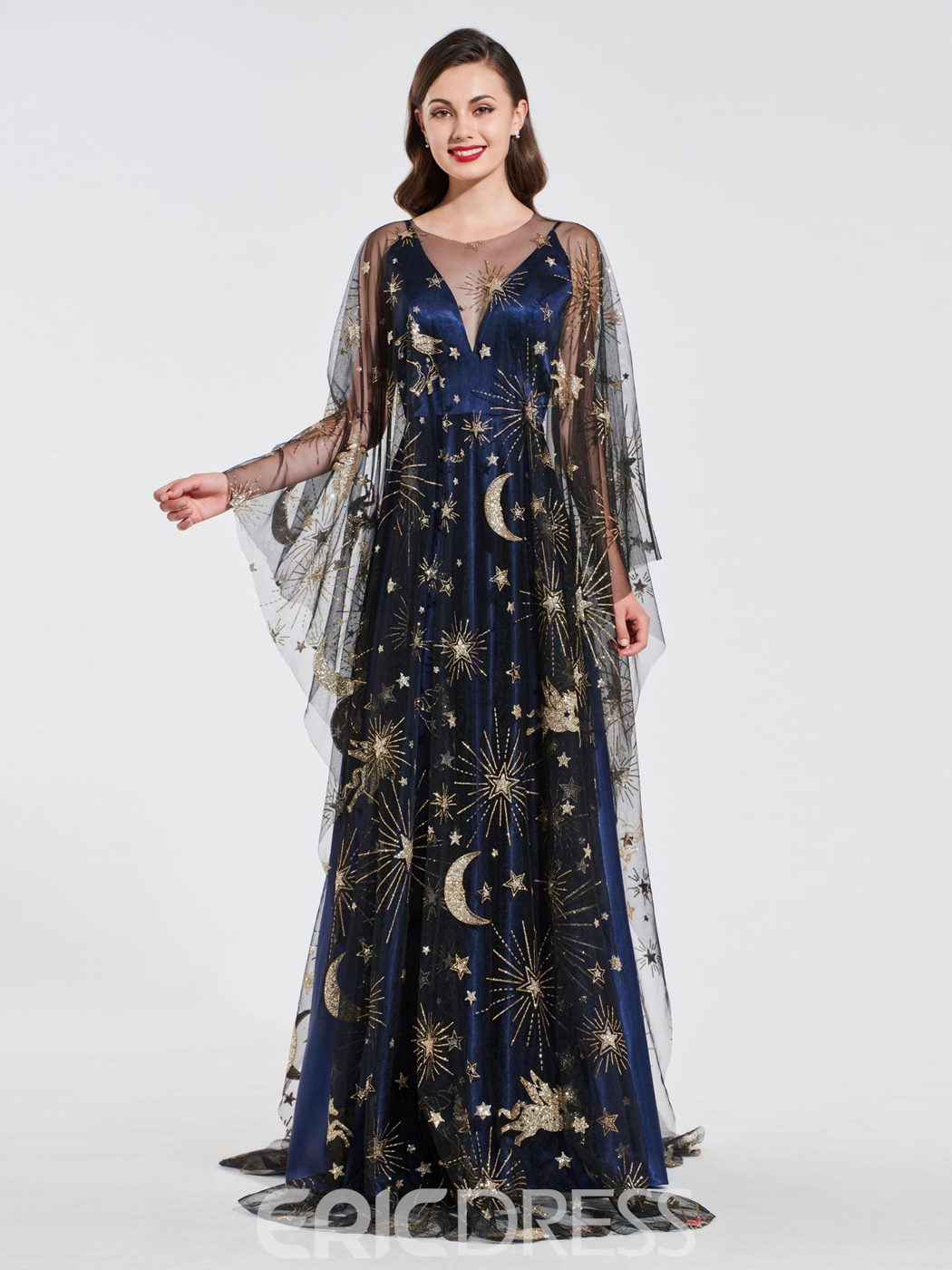 Ericdress A Line Straps Evening Dress with Starring Cape