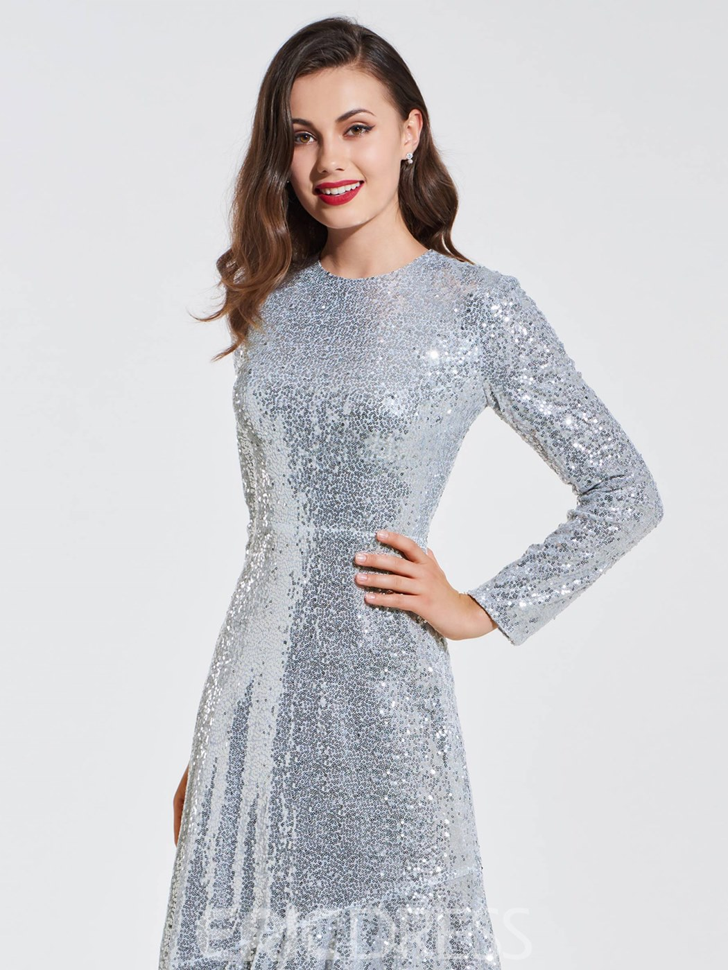 Ericdress Sequin Mermaid Long Sleeve Evening Dress