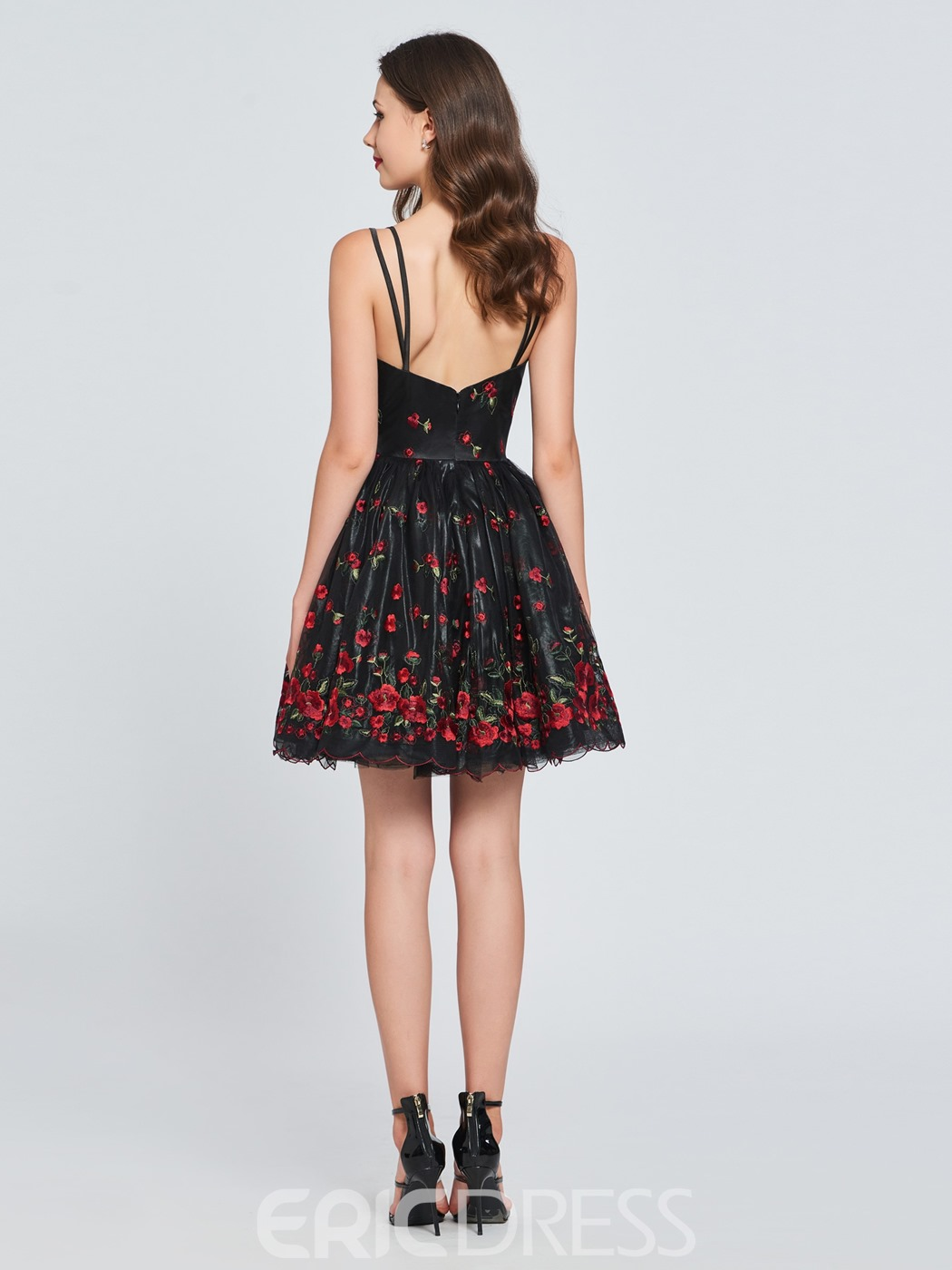 Ericdress Straps Short Black A Line Homecoming Dress