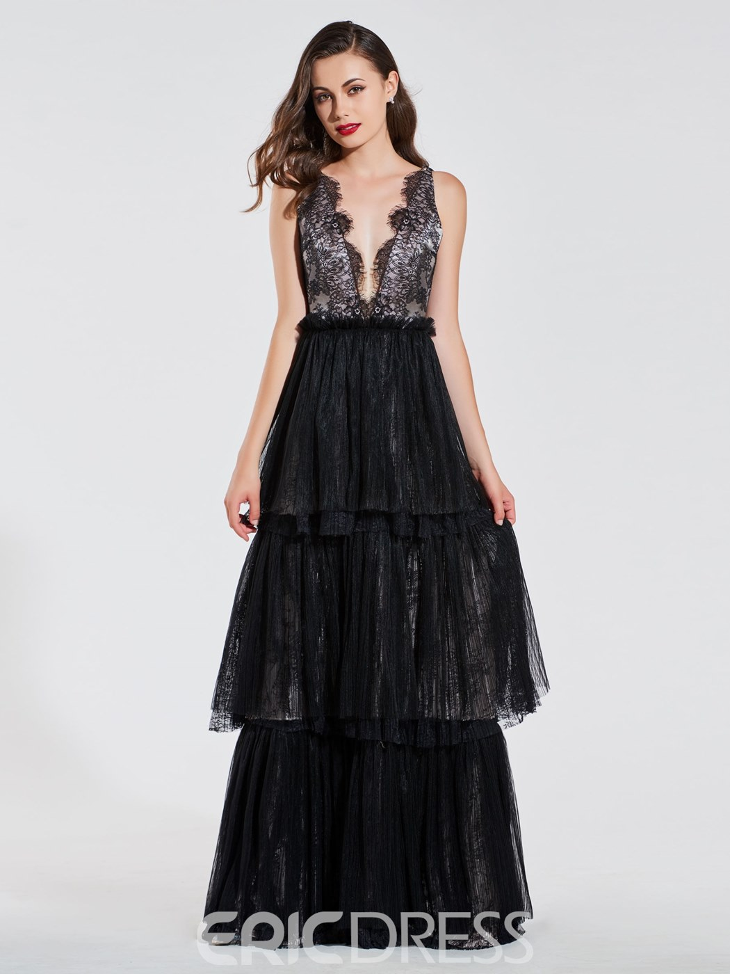 Ericdress A Line V Neck Lace Black Evening Dress