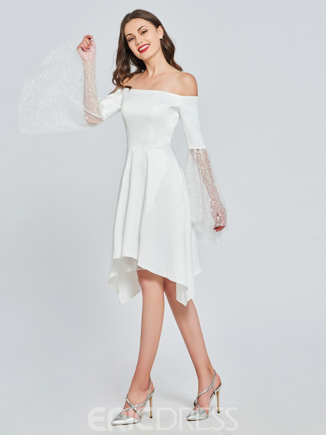 Ericdress Long Sleeve Off The Shoulder A Line White Homecoming Dress