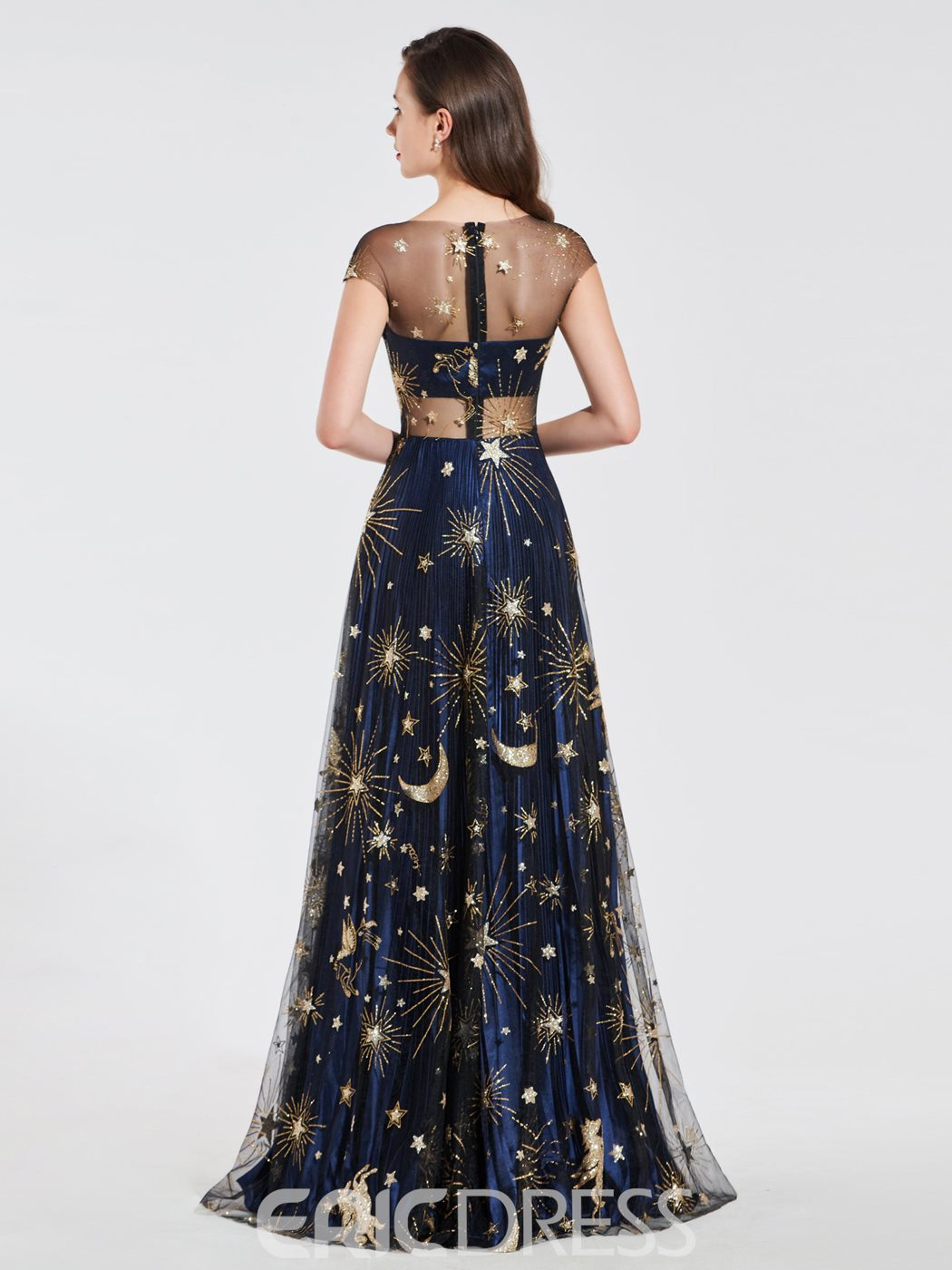 Ericdress A Line Cape Sleeve Starry Pattern Evening Dress