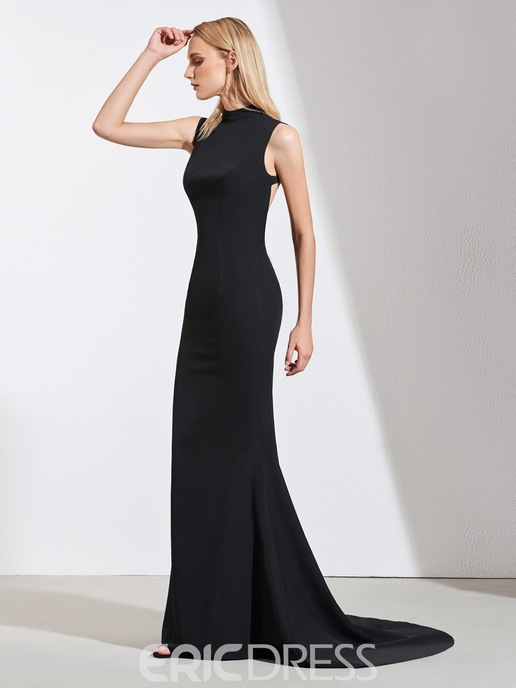 Ericdress Mock Neck Backless Mermaid Black Evening Dress