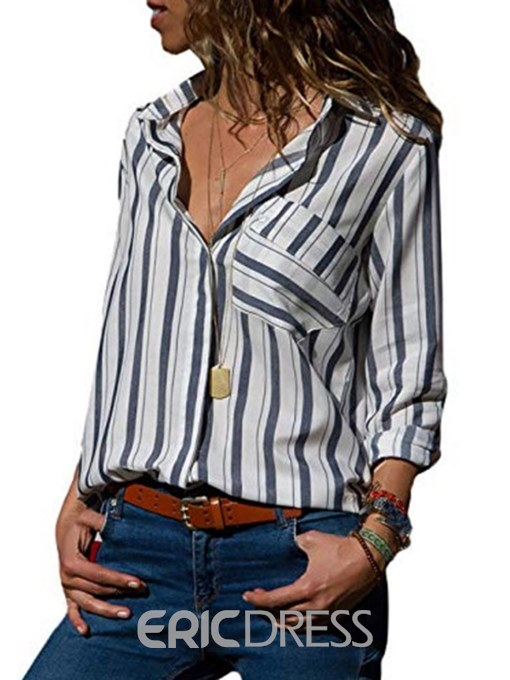 Ericdress Stripe Loose Single-Breasted Mid-Length Blouse