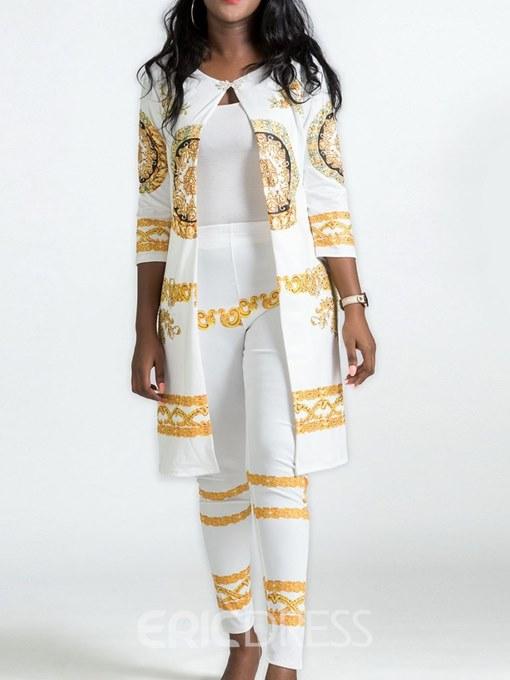 Ericdress African Fashion Dashiki Print Coat and Ankle Length Pants Women's Two Piece Set