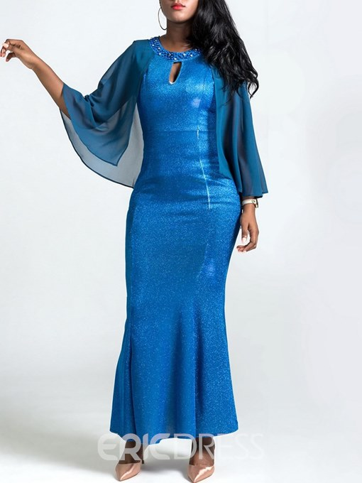Ericdress Mermaid Ankle-Length Mesh Batwing Sleeve Women's Party Dress