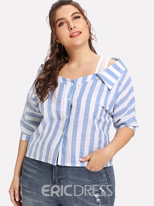 Ericdress Stripe Button Off Shoulder Plus Size Blouse