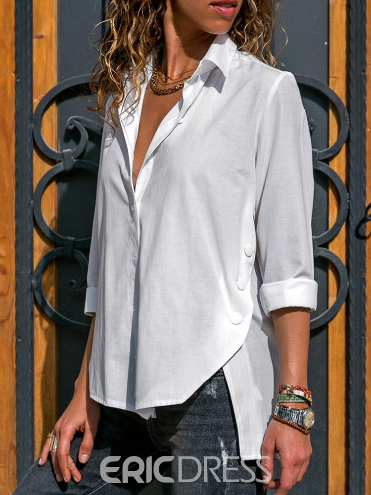 Ericdress Loose Button-Down Casual Long Sleeve Blouse