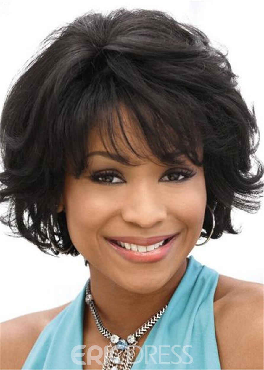 Ericdress Bob Hairstyle Wavy Human Hair Lace Front Wigs For Black Women