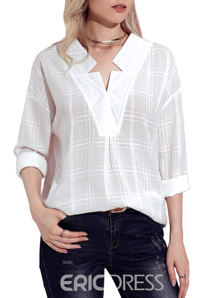 Ericdress Loose Casual Plaid V-Neck Long Sleeve Blouse
