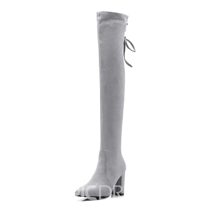Ericdress Lace-Up Back Chunky Heel Women's Knee High Boots