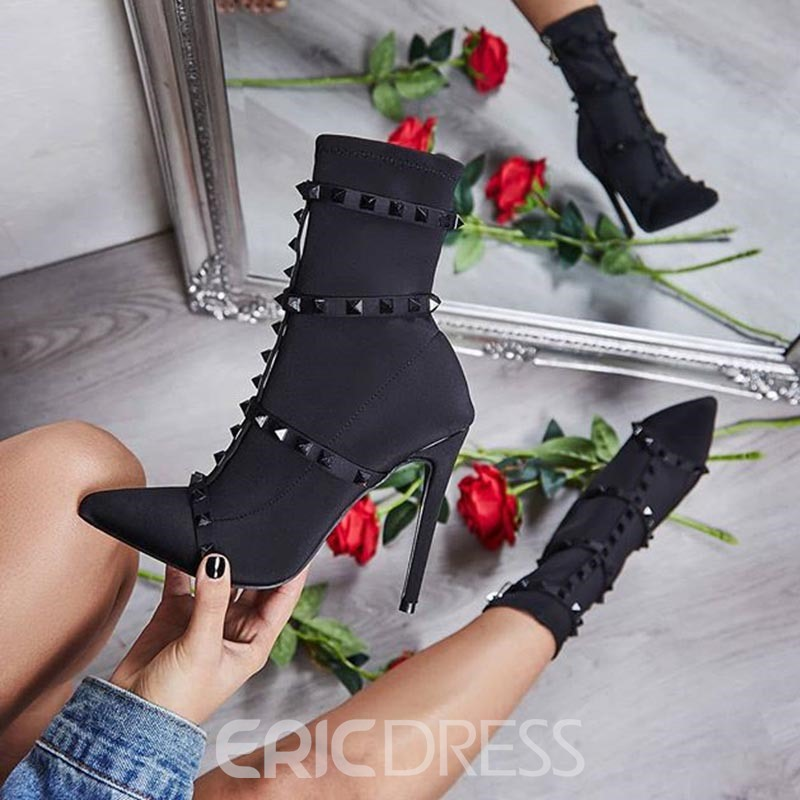 Ericdress Rivet Pointed Toe Stiletto Heel Women's Sandals