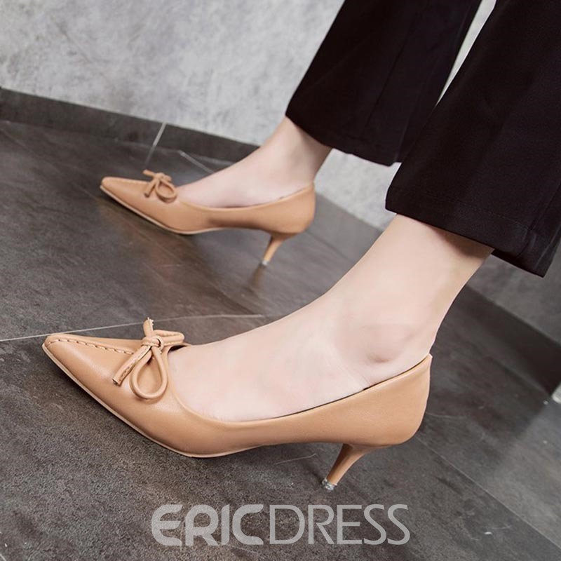 Ericdress Bow Pointed Toe Stiletto Heel Women's Pumps