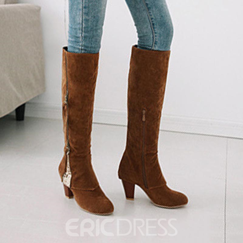 Ericdress Side Zipper Chunky Heel Women's Knee High Boots
