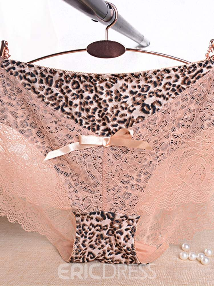 Ericdress Breathable Bowknot Leopard Seamless Sexy Panty