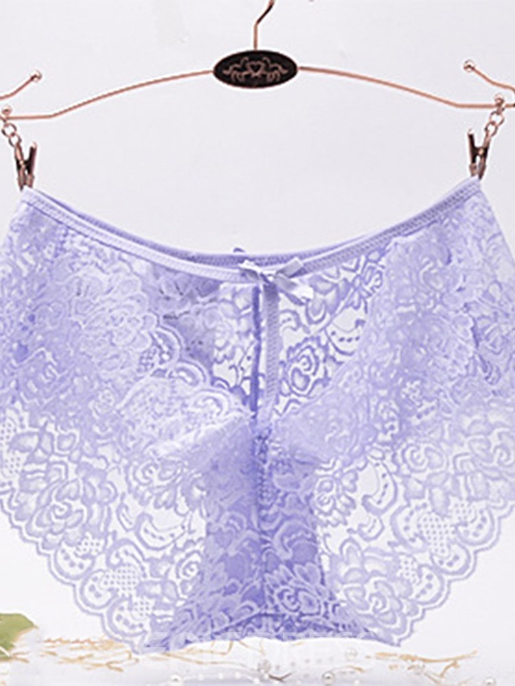 Ericdress Lace Hollow Bowknot Panty 3 Pieces for Women
